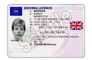 Driving licence displaying union flag