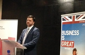 Secretary of State for Wales Stephen Crabb MP delivering speech