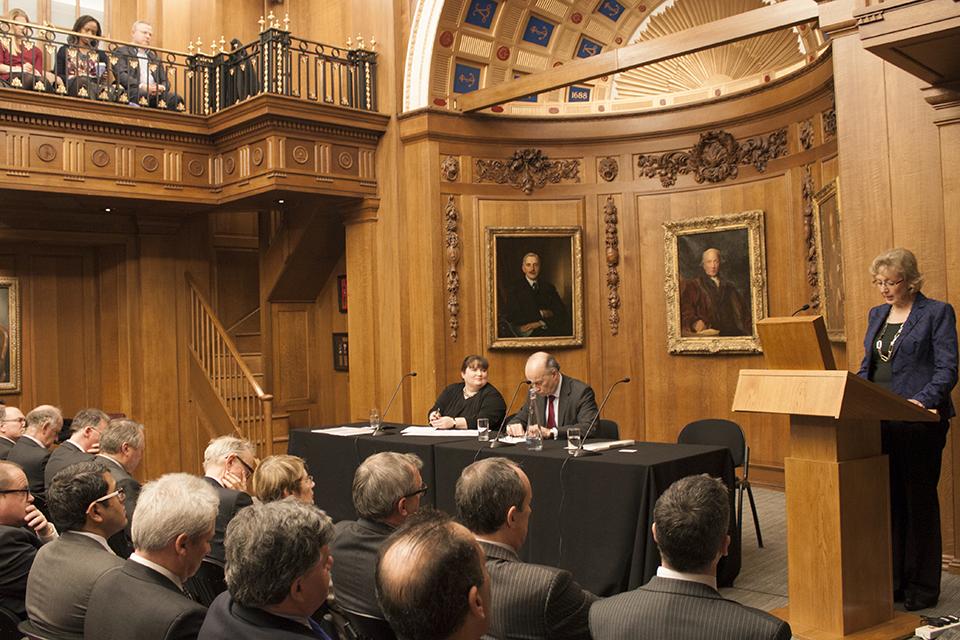 Andrea Leadsom giving a speech a Lloyd's