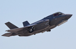A UK F-35B Lightning II taking off from Eglin Air Force Base, Florida, USA'. [Picture: Harland Quarrington, Crown copyright]