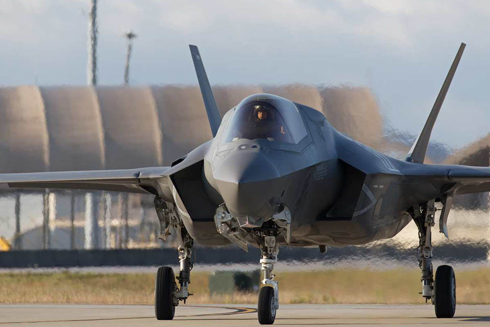 A UK F-35B Lightning II taxiing off from Eglin Air Force Base, Florida, USA'. [Picture: Harland Quarrington, Crown copyright]