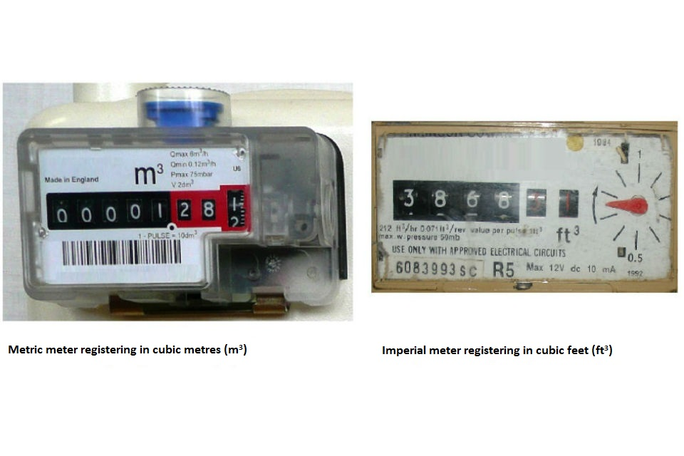 Example of different gas meter dials