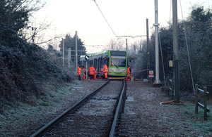 Image showing derailed tram near Mitcham Junction