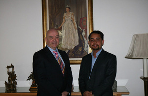 The Queen's Young Leader Award winner from Bangladesh Shamir Shehab met with the British High Commissioner Robert W Gibson at his Residence.