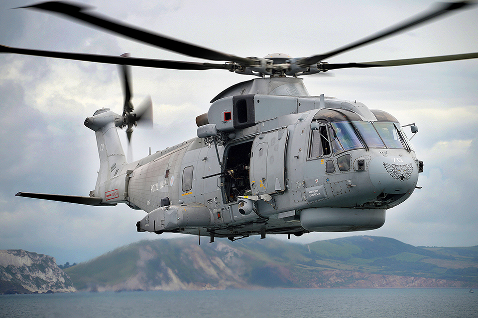 A Royal Navy Merlin helicopter