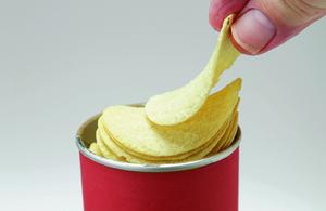 Crisps in a cardboard tube