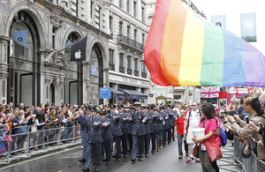 Royal Air Force personnel on parade during the 2014 London Pride event [Picture: Senior Aircraftman Ash Reynolds, Crown copyright]