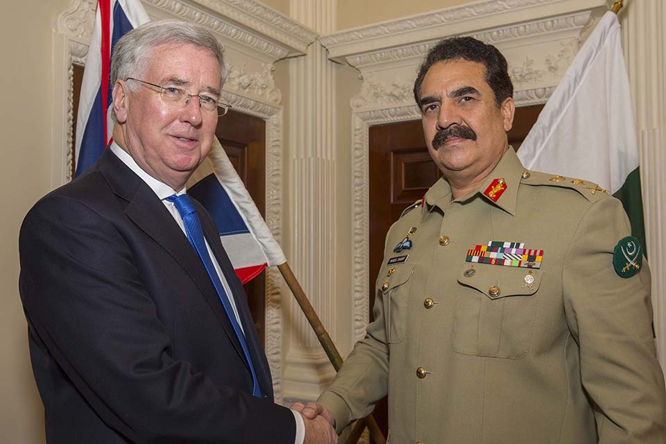 Defence Secretary Michael Fallon with General Sharif
