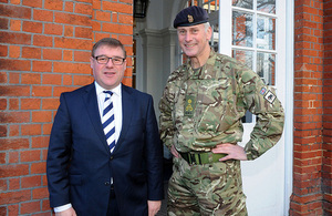 Minister for the Armed Forces, Mark Francois MP and Brigadier Andrew Hughes during a visit to troops deploying to Sierra Leone [Picture: Richard Watt, Crown copyright]