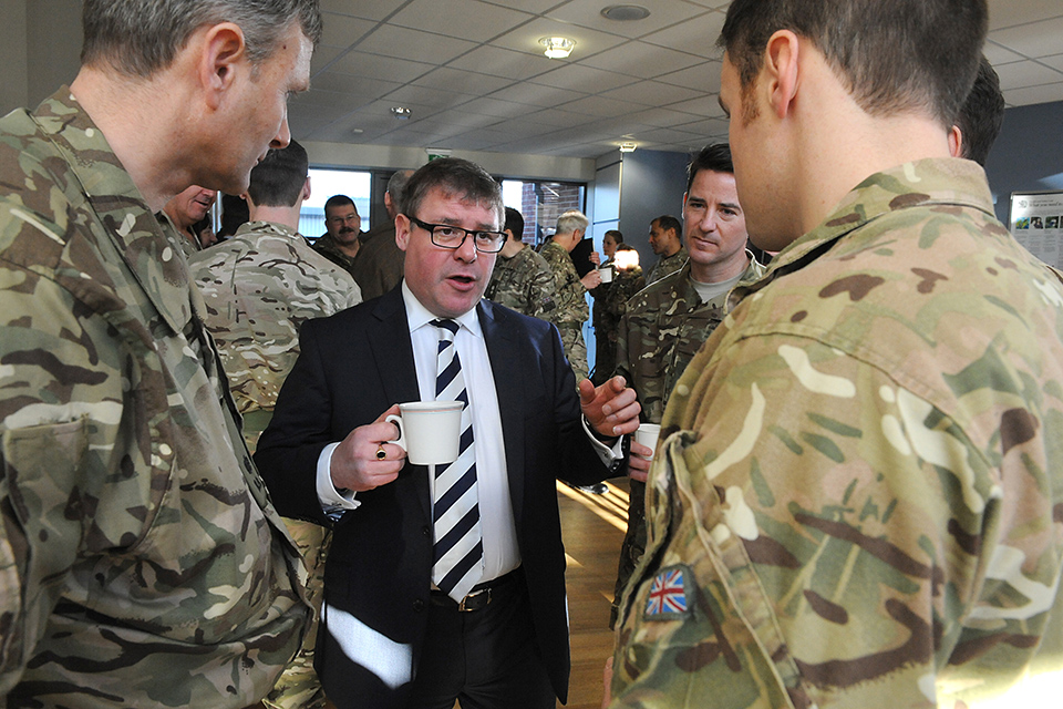 Minister for the Armed Forces, Mark Francois talking with troops from 11 Infantry Brigade prior to their deployment to Sierra Leone