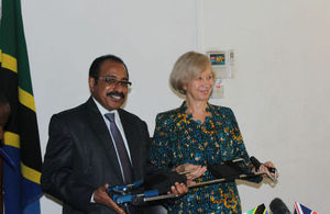 HE Dianna Melrose, the British High Commissioner hands over Pediatric Leg Traction to Hon. Dr. Seif Rashid, Minister of Health and Social Welfare