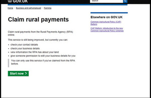 Screen shot of rural payments system