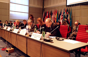 Sir Andrew Burns speaking at the OSCE Permanent Council, Vienna, Austria