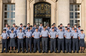 Air Vice-Marshal Andrew Turner, Air Officer Commanding No 22 (Training) Group, with some of this year's apprentices at RAF Cranwell [Picture: Crown copyright]