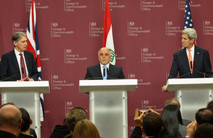 Foreign Secretary Philip Hammond, Haider Al-Abadi, Prime Minister of Iraq and US Secretary of State John Kerry speak to the media following the Counter-ISIL Coalition Small Group Meeting in London, 22 January 2015.