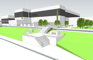 Artist impression of planned facility before it was completed