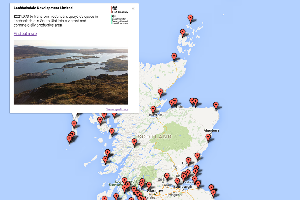 Screenshot of Coastal Communities fund interactive map
