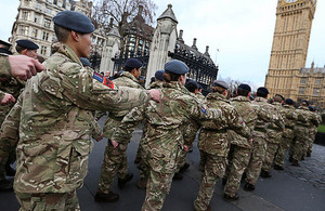 The last military personnel to serve on Operation Herrick march to the Houses of Parliament [Picture: Senior Aircraftman Lee Matthews RAF, Crown copyright]