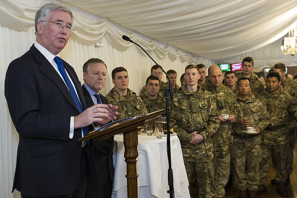Defence Secretary Michael Fallon addresses troops returning from Afghanistan in the Palace of Westminster
