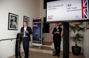 Grant Shapps MP addressing the Web Summit reception at the British Embassy in Dublin