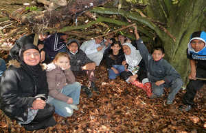 A group of young people on an outdoors visit to the Aston Rowant National Nature Reserve