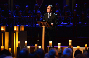 Prime Minister David Cameron speaking at the National Holocaust Commemoration Event.