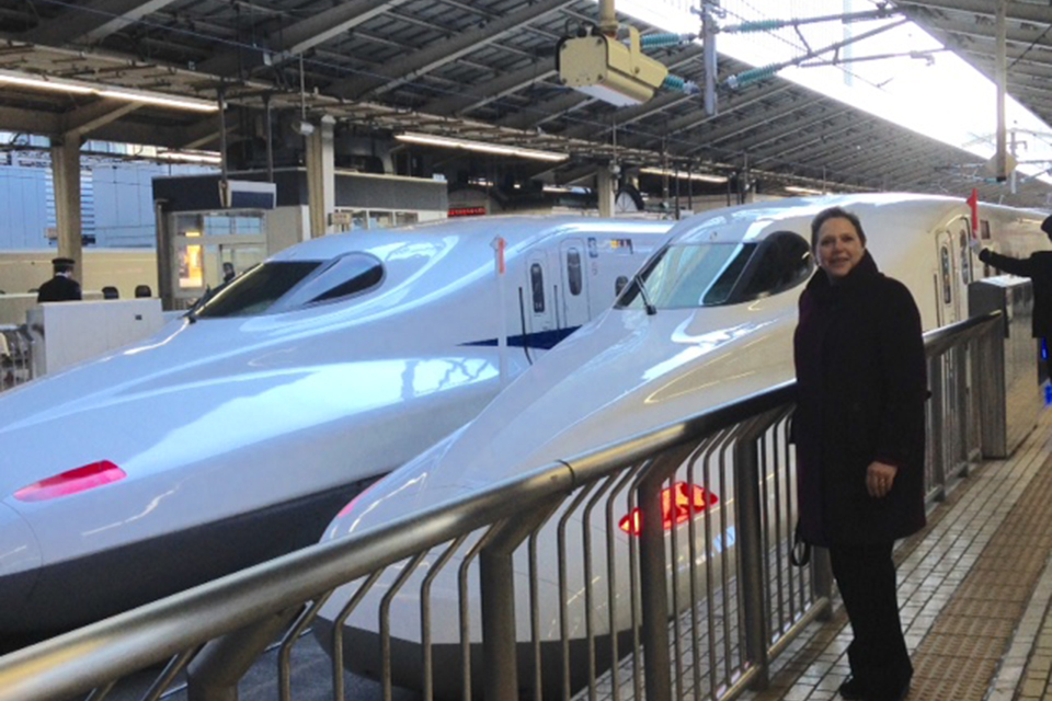 Baroness Kramer with Japanese trains.
