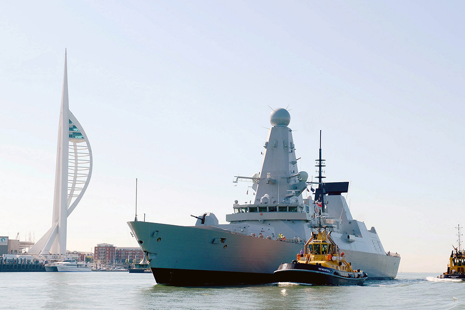 HMS Defender sails into HM Naval Base Portsmouth for the first time