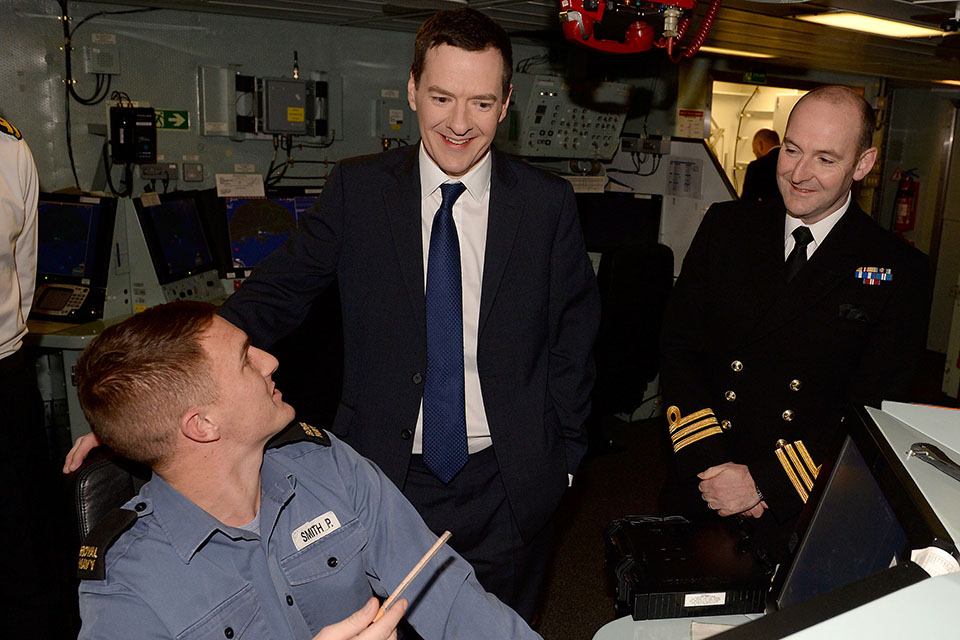 Able Seaman Peter Smith meets the Chancellor George Osborne on board HMS Defender in Portsmouth