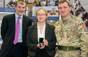 Sue Haines with her Operational Service Medal