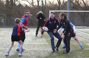 Deputy PM at Twickenham at an All Schools rugby training event.