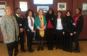 Baroness Northover, Baroness Randerson and Lynne Featherstone with pupils of Fitzalan School. Picture: Lindsay Mgbor/DFID