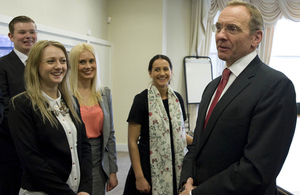 John Manzoni talking to Fast Track Apprentices.