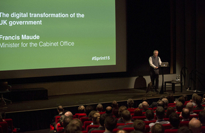Francis Maude speaking at the Sprint 15 conference.
