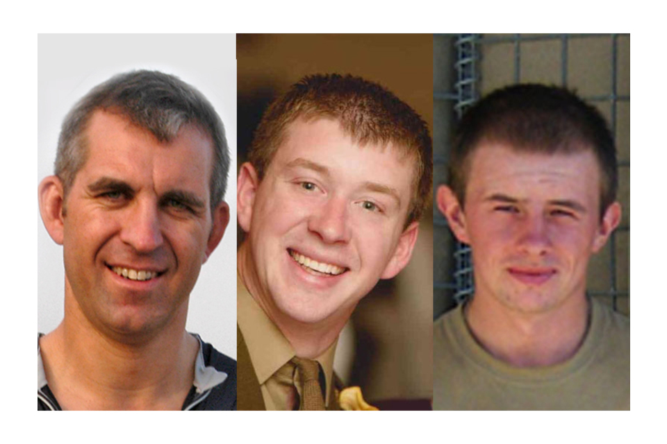 Captain Mark Hale, Lance Bombardier Matthew Hatton and Rifleman Daniel Wild