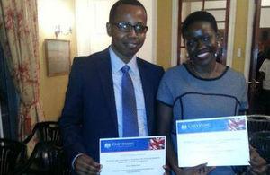 2013/14 Chevening Scholars - Felista Rugambwa and Roman Masumbuko