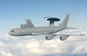 A Royal Air Force E-3D Sentry manufactured by Boeing [Crown copyright]
