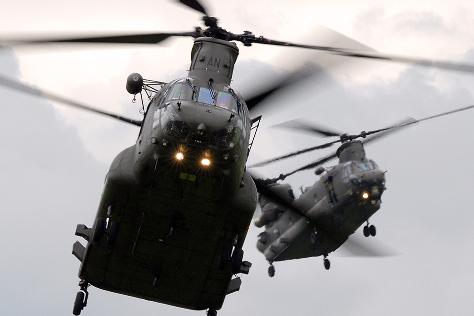 Two Royal Air Force Chinook Mk2 helicopters from RAF Odiham and manufactured by Boeing.