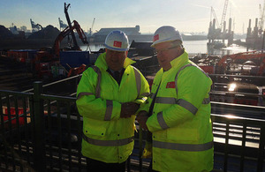 Patrick McLoughlin with Joe Anderson, Mayor of Liverpool (left) at Seaforth docks.