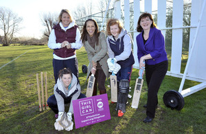 Nicky Morgan and Helen Grant join members of Carillon Cricket Club's women's team who are competing in the Women's Midlands Premier League.