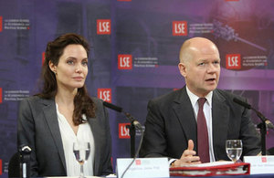William Hague, the Prime Minister's Special Representative on Preventing Sexual Violence in Conflict, and Angelina Jolie Pitt, the co-founder of the Preventing Sexual Violence Initiative