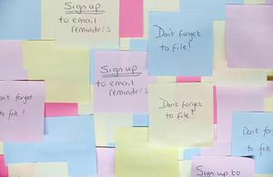 Photograph of sticky notes