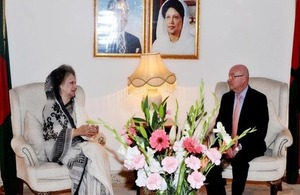 the High Commissioner Robert W Gibson met BNP Chairperson Begum Khaleda Zia at her Gulshan office. Photo: Fojit Shak Babu