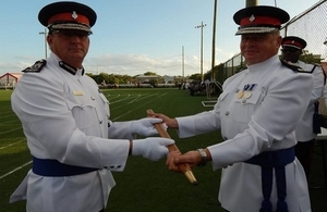Colin Farquhar, left, and his successor as Commissioner of the Royal Turks and Caicos Islands Police Force, Jim Smith