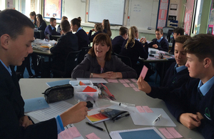 Nicky Morgan with students in a classroom