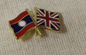 Lao and UK flag pin
