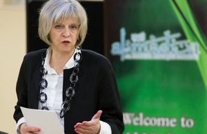 Home Secretary Theresa May speaking at interfaith event