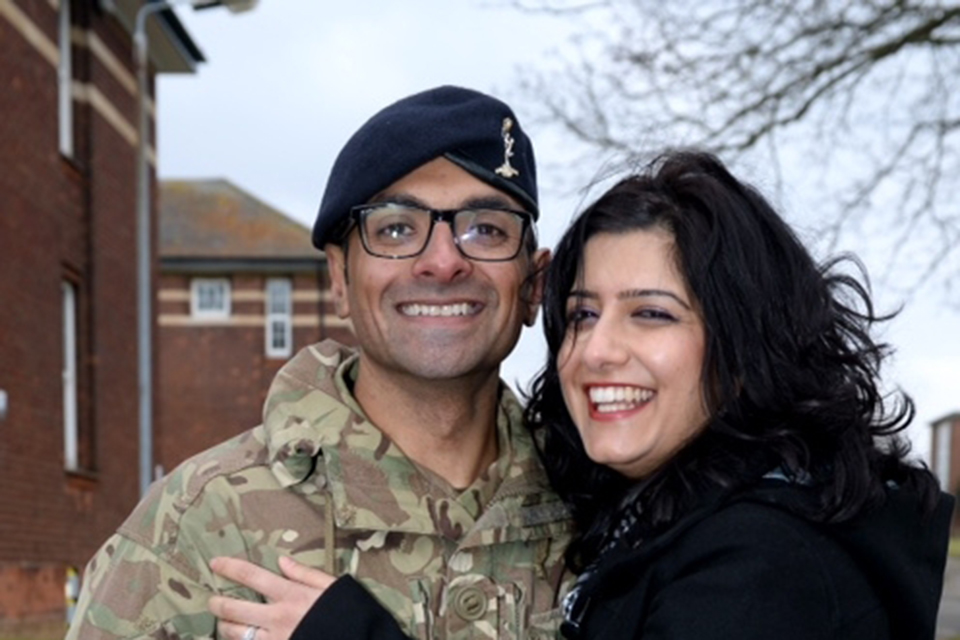 Signaller Arfan Ali and his wife Zobia Arif. [Picture: Corporal Andy Reddy RLC, Crown copyright]