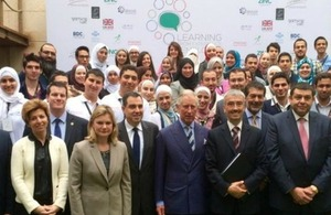 "HRH Prince Charles with 70 young people from Jordan who attended the ""Learning from Experience"" event"