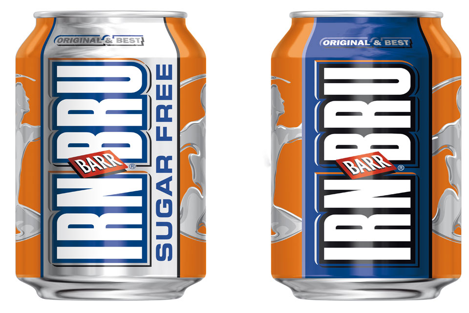 Image of 2 IRN-BRU cans.